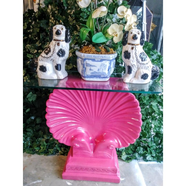 Grosfeld House Clam Shell Bright Pink Palm Beach Regency Console Table Base Grosfeld House Style For Sale - Image 4 of 11