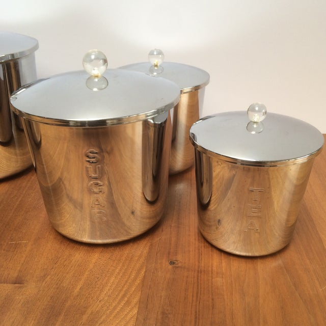 Vintage Chrome Kitchen Canisters - Set of 5 - Image 4 of 7