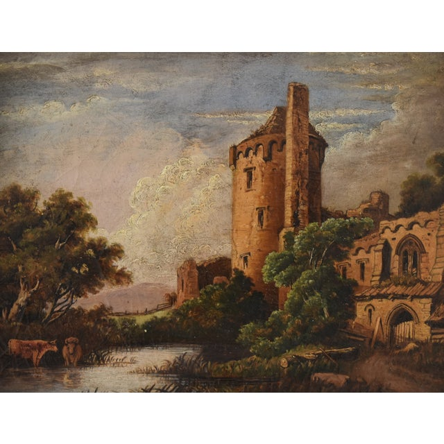 Circa 1830s Antique English Castle & Cattle at River Painting For Sale In Los Angeles - Image 6 of 11