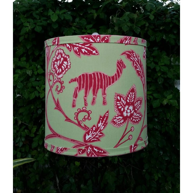 Boho Chic Thibaut Fabric Lampshade Green Hot Pink Tropical For Sale - Image 3 of 10