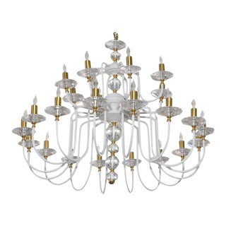 White Painted and Brass Chandelier