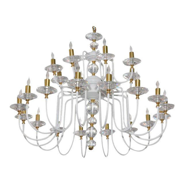 White Painted and Brass Chandelier For Sale