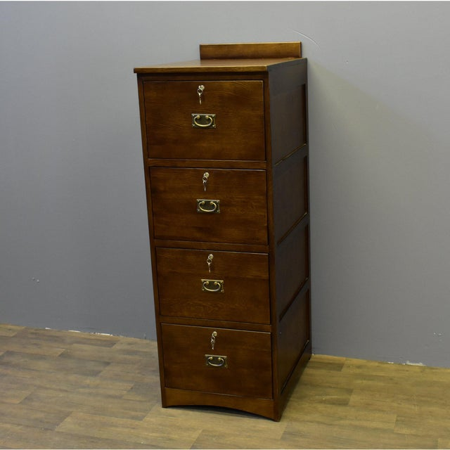 Arts & Crafts Crafters and Weavers Mission Solid Oak 4 Drawer File Cabinet For Sale - Image 3 of 5