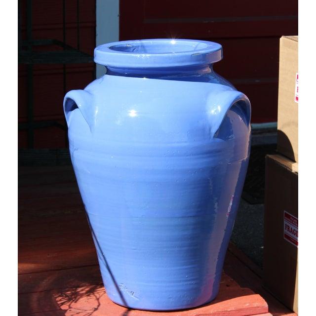 Huge, old, hand-turned and signed Hank Pickrull 3 handled Zanesville pottery floor vase for the Old Pot Shop in Norwalk,...