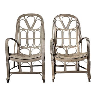 Pair of Large Elegant White Cane Conservatoire Chairs - France, early 20th Century