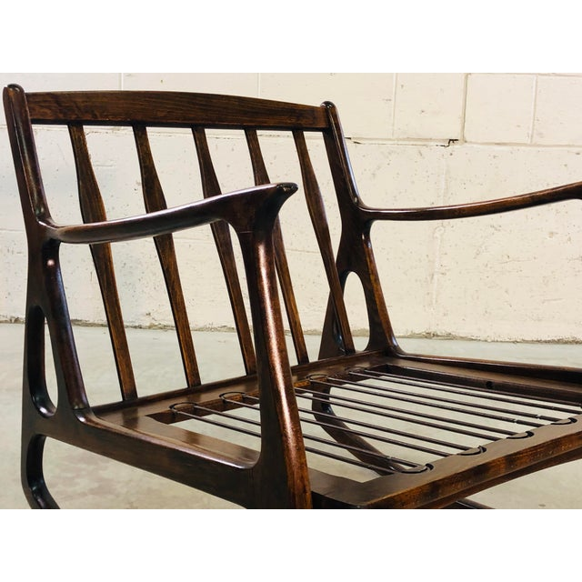 Mid-Century Modern Vintage Italian Beech Wood Rocking Chair For Sale - Image 3 of 13