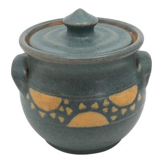 Blue Sun Motif Glazed Hand-Thrown Pottery Sugar Bowl For Sale