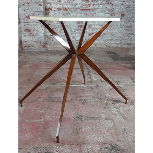 Mid Century Modern Geometric Side Table With Goatskin Top For Sale - Image 4 of 10