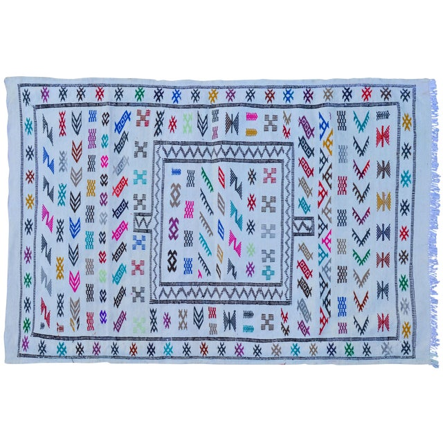 Moroccan Silk Rug - 4'8'' x 3'1'' For Sale