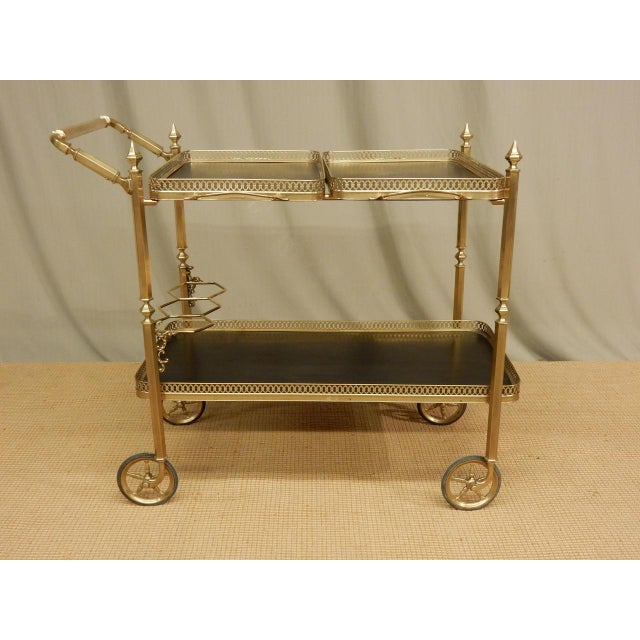 French Vintage French Brass Bar Cart For Sale - Image 3 of 8
