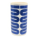 Image of Abstract Blue Lines Motif Vase For Sale