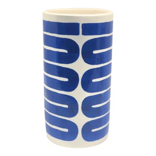 Abstract Blue Lines Motif Vase For Sale