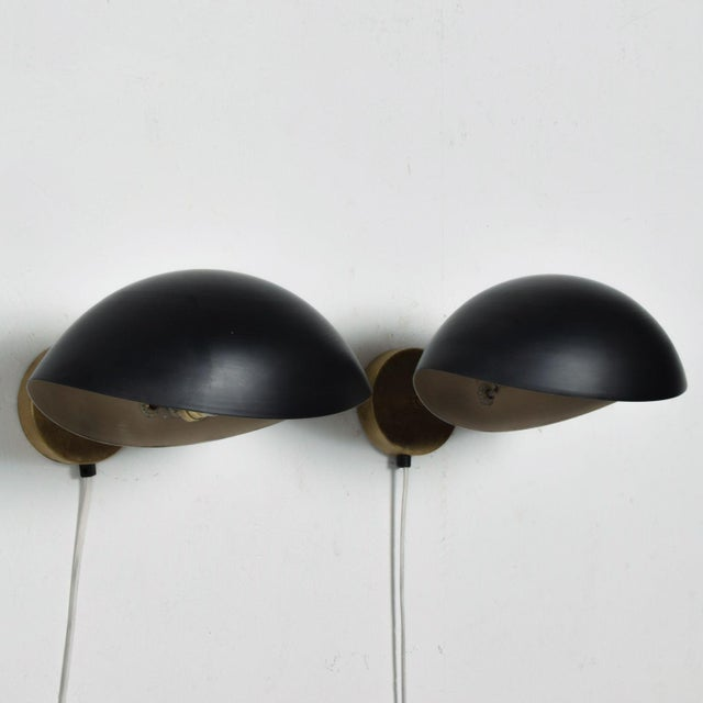 Mid-Century Modern Black on Brass Italian Double Wall Sconce Antony After Serge Mouille Mid Century Modern - a Pair For Sale - Image 3 of 9