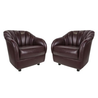 Pair of Leather Club Chairs by Ward Bennett for Brickel For Sale