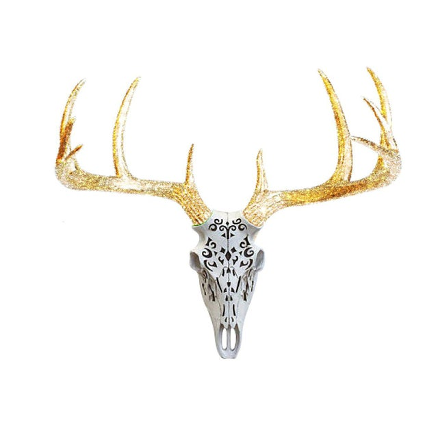 Wall Charmers White & Gold Glitter Faux Taxidermy Antlers Skull Mount