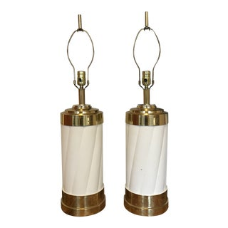 1980s Brass & Enamel Lamps - a Pair For Sale