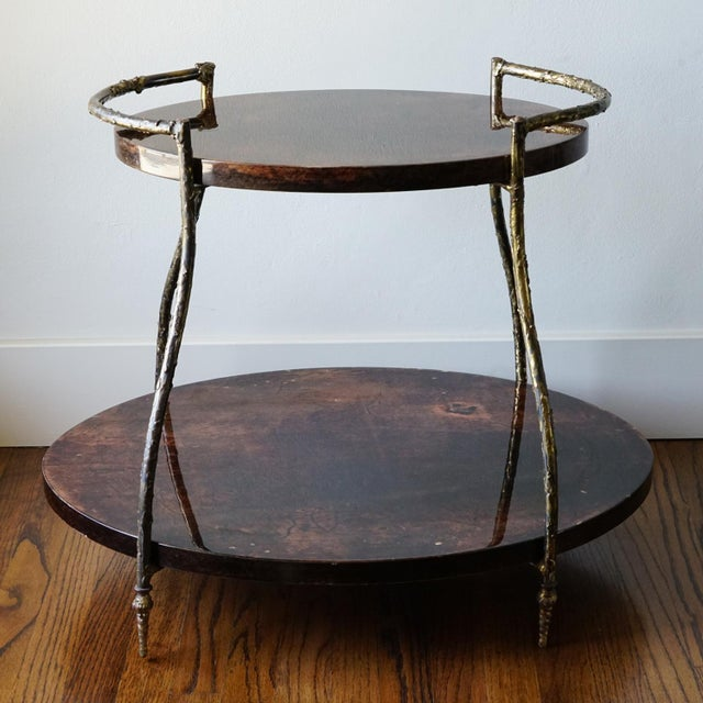 "Aldo Tura Goatskin Lacquer & Bronze Cocktail Table H 21"" x W 26"" x D 20"""