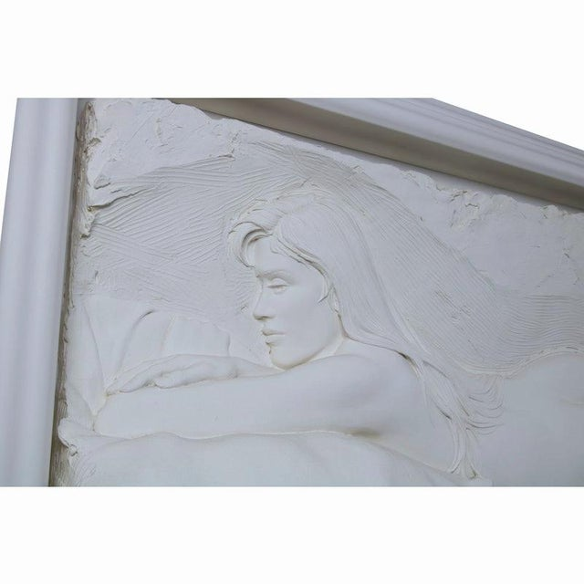 Cream 1990s Bill Mack 'Contemplation' Reclining Nude Female' Relief Bonded Sand Sculpture For Sale - Image 8 of 12