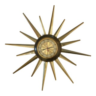 Mid-Century Brass Starburst Clock For Sale