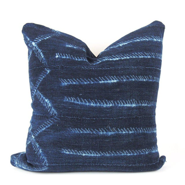 Blue Electric Mudcloth Pillow For Sale - Image 4 of 4