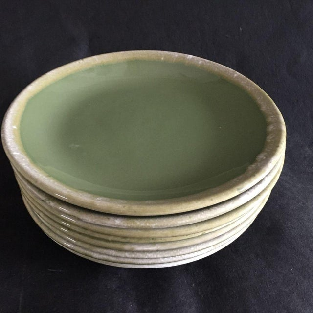 Mid-Century Modern Mid-Century Hull Pottery Green Drip Glaze Dinner Plates - Set of 8 For Sale - Image 3 of 6