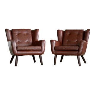 Danish Mid-Century Pair of Easy Chairs in Leather and Teak by Skjold Sørensen