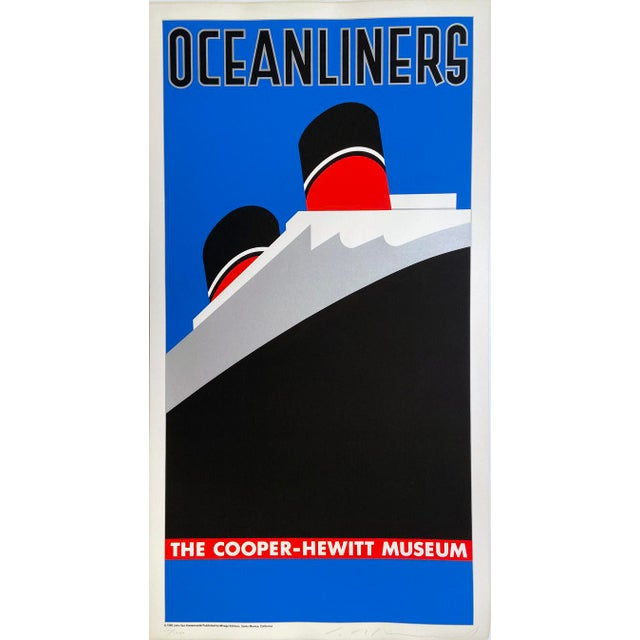 Oceanliners, the Cooper-Hewitt Museum by John Van Hamersveld, Hand Printed Silkscreen Limited Edition Print For Sale