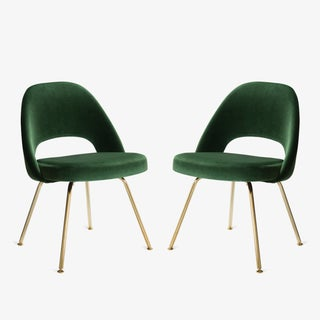 Original Vintage Saarinen Executive Armless Chair Restored in Emerald Velvet, Custom 24k Gold Edition Preview