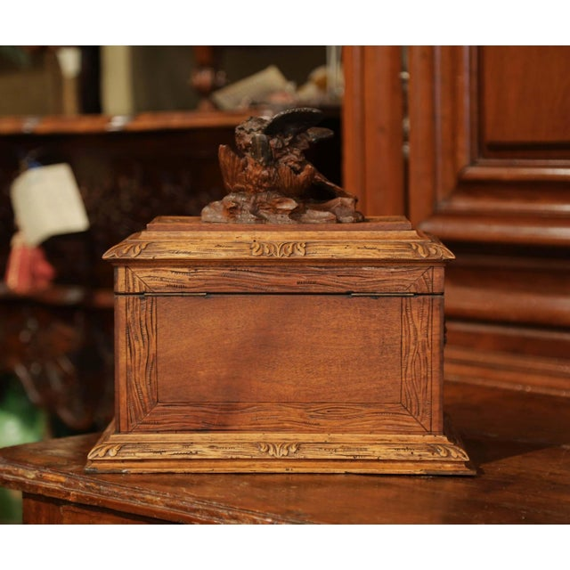 19th Century French Black Forest Carved Walnut Cave a Liqueur With Cigar Holders For Sale - Image 12 of 13