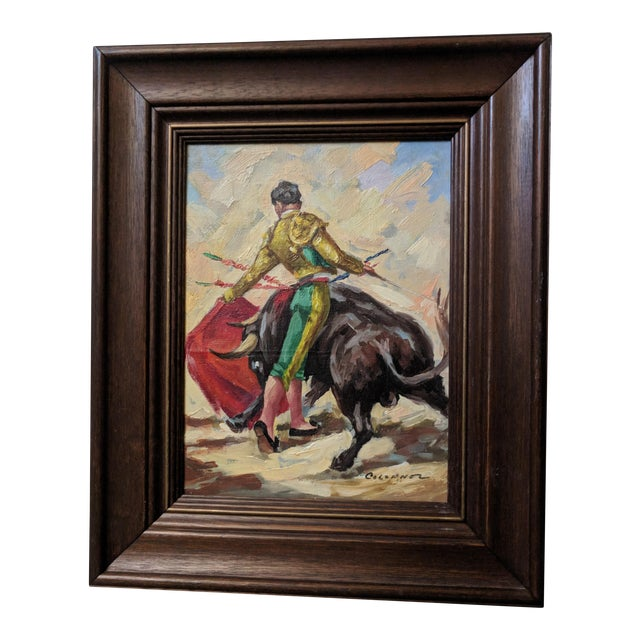 Mid-Century Spanish Bull Fighter Torero Oil Paintings - a Pair - Image 1 of 7