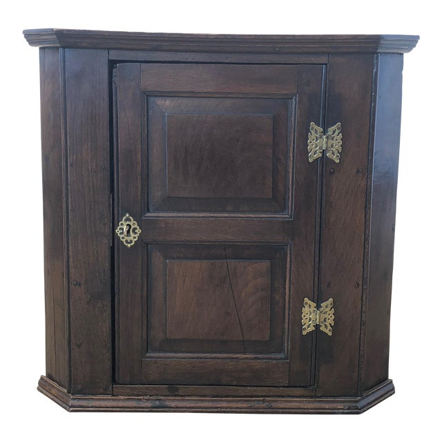18th Century English Oak Corner Cabinet For Sale