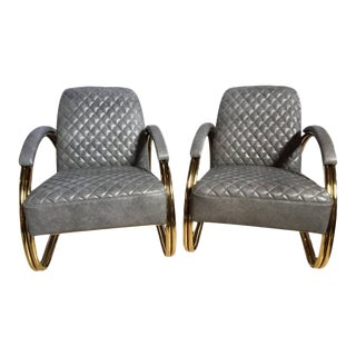 Art Deco Style Grey Leather Chairs - A Pair