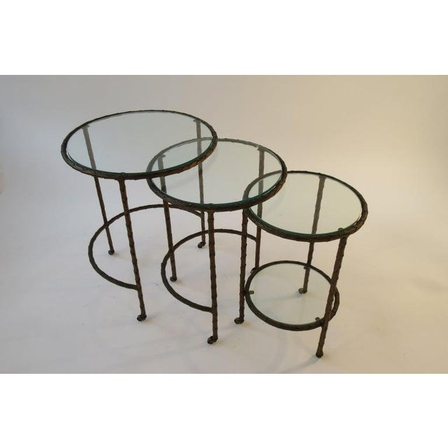 Maison Baguès 1950s Baguès Bronze Circular Nesting Tables For Sale - Image 4 of 13
