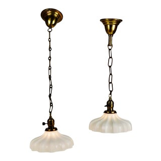 Antique Hanging Pendant Lamps With Milk Glass Shades For Sale