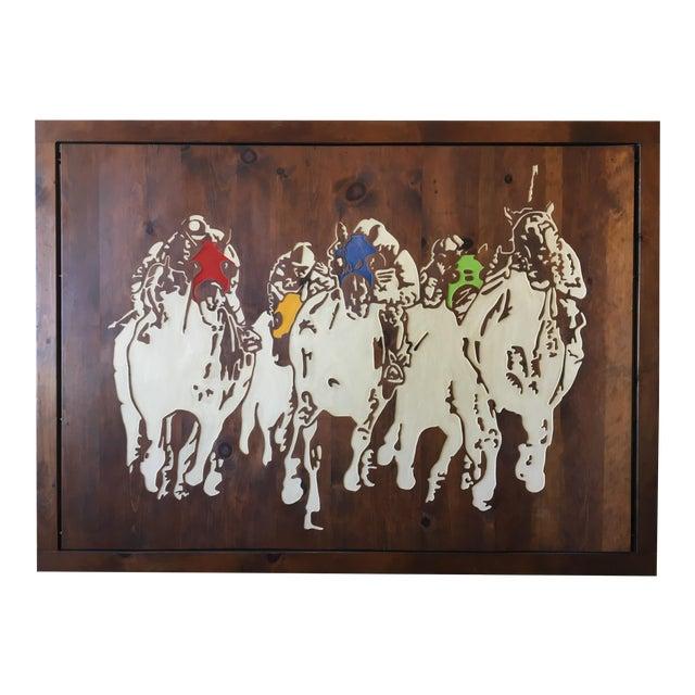Horse Racing Carved Art by Ken Daddario - Image 1 of 8