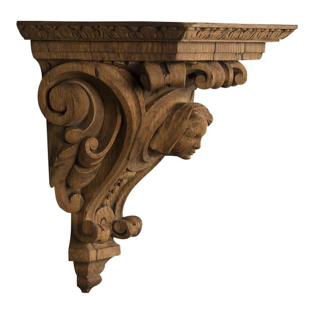 19th Century French Henri II Style Portrait of Young Lady Oak Wall Bracket For Sale