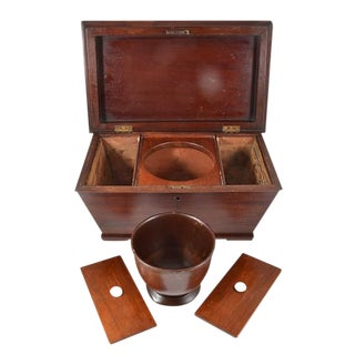 Antique 19th Century Large Mahogany Tea Caddy with Three Compartments For Sale