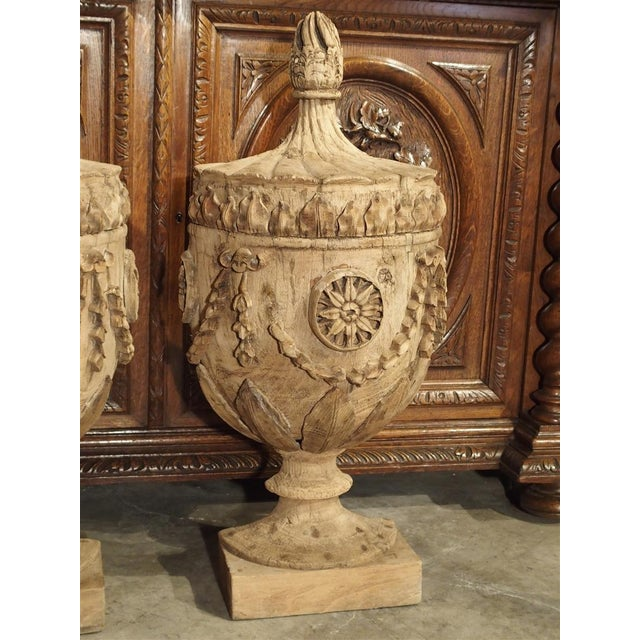 Pair of Neoclassical Style Carved Wooden Half Urns From England For Sale - Image 4 of 11