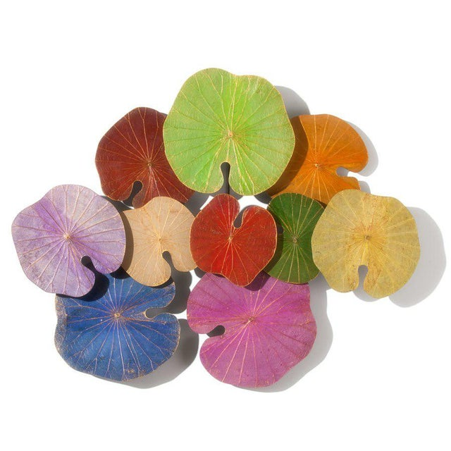 Asian Contemporary Thai Lotus Leaf Wall Sculpture For Sale - Image 3 of 3