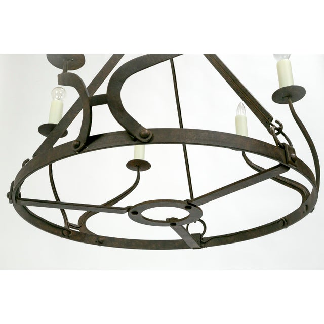 Gold Rustic Iron Wavy Armed Chandelier For Sale - Image 8 of 11