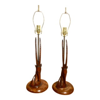 Mid-Century Carved Antelope Lamps - a Pair For Sale