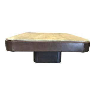 De Sede Leather and Travertine Coffee Table For Sale