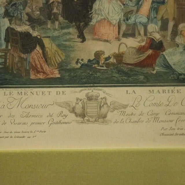 """Traditional Antique French Hand Tinted Print """"Le Menuet De La Mariee"""" by P L Debucourt For Sale - Image 3 of 9"""