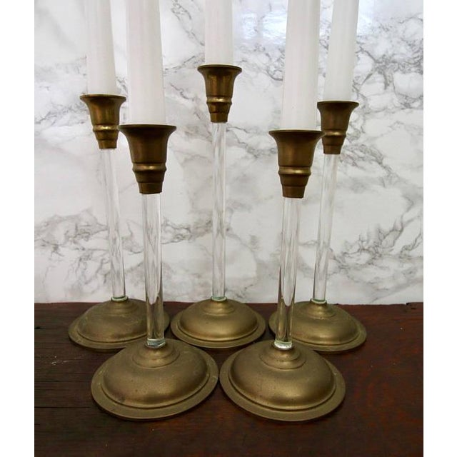 Set of 5 Brass and Acrylic Lucite Graduated Tulip Vintage Candle Stick Holders - Image 2 of 4