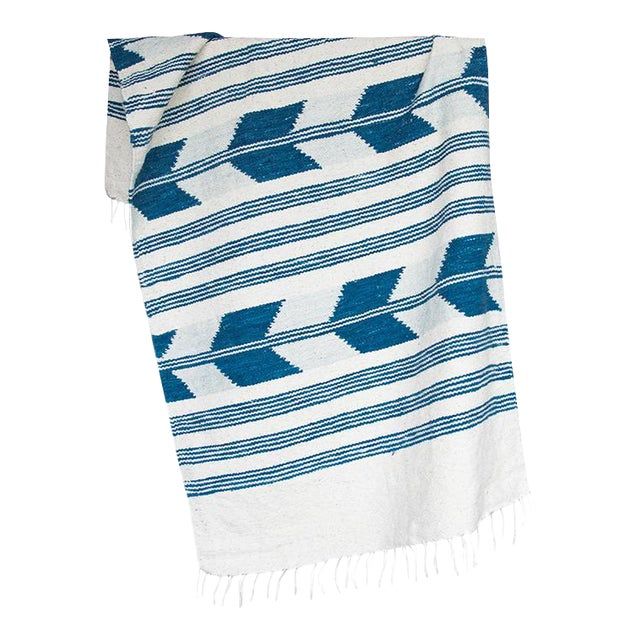 Blue & White Handwoven Chevron Rug - 2′6″ × 5′ - Image 1 of 5