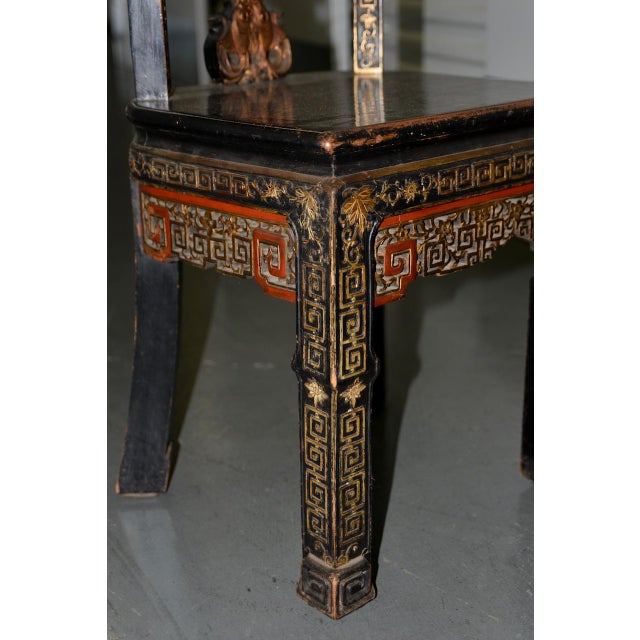 19th Century Carved & Painted Chinese Side Chair For Sale In San Francisco - Image 6 of 13