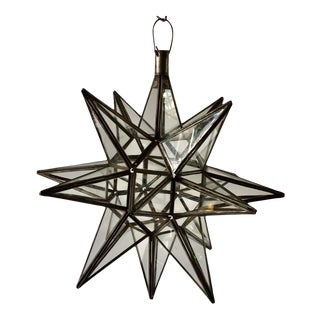 1980s Moroccan Clear Glass and Metal Moravian Star Shaped Lantern Pendant For Sale