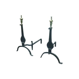 1900'S Cast Iron and Bronze Andirons by Cahill For Sale