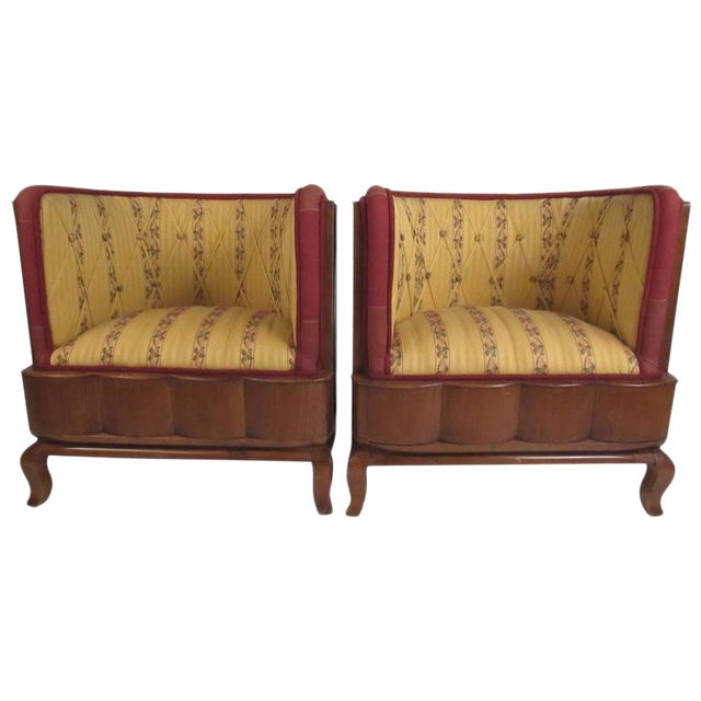 Vintage Barrel Back Italian Side Chairs - A Pair For Sale