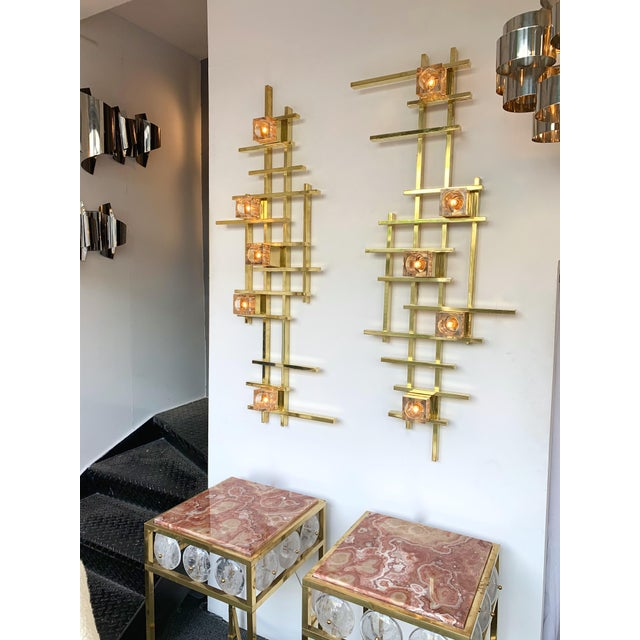 Contemporary Brass Murano Glass Cubic Sconces. Italy For Sale - Image 9 of 11